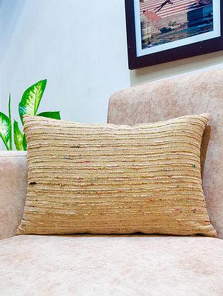 Gold Raw Silk Cushion Cover (L - 18in ,W - 12in)