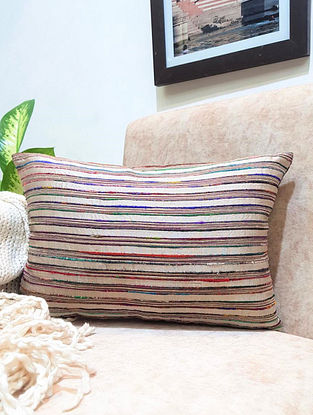 Natual Beige Raw Silk Cushion Cover (L - 18in ,W - 12in)