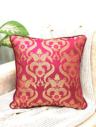 Magenta Damask Royal Brocade Cushion Cover (Set of 2) (L - 16in ,W - 16in)