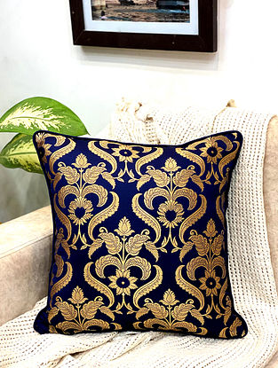 Dark Blue Damask Royal Brocade Cushion Cover (Set of 2) (L - 16in ,W - 16in)