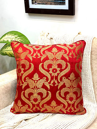 Red Damask Royal Brocade Cushion Cover (Set of 2) (L - 16in ,W - 16in)