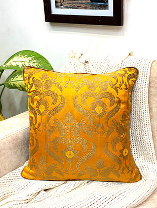 Yellow Damask Royal Brocade Cushion Cover (Set of 2) (L - 16in ,W - 16in)