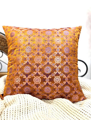 Gold Handwoven Royal Banarasi Brocade Cushion Covers (Set of 2) (L - 16in ,W - 16in)