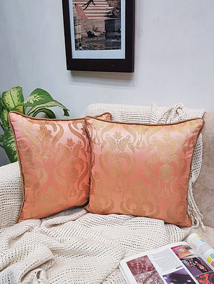 Peach Damask Royal Brocade Cushion Cover (Set of 2) (L - 16in ,W - 16in)