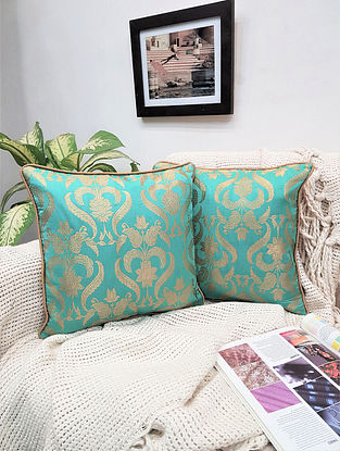 Turquoise Damask Royal Brocade Cushion Cover (Set of 2) (L - 16in ,W - 16in)