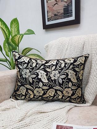 Black Cotton Silk Silver Brocade Cushion Cover (L - 18in ,W - 12in)