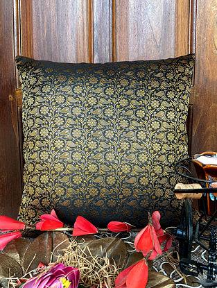 Black Banarasi Silk Classic Brocade Cushion Cover (L - 16in ,W - 16in)