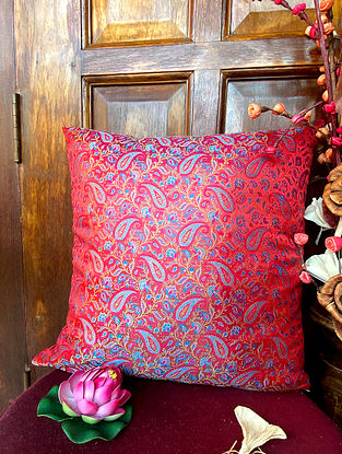 Red Handwoven Banarasi Brocade Cushion Cover (L - 16in ,W - 16in)