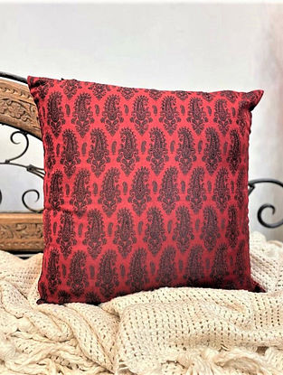 Maroon Handloom Woven Paisley Cushion Cover (L - 16in ,W - 16in)