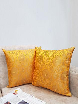 Yellow Handwoven Royal Banarasi Brocade Cushion Covers (Set of 2) (L - 16in ,W - 16in)