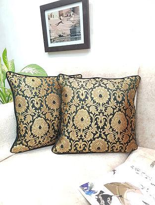 Black Gold Handwoven Royal Banarasi Brocade Cushion Covers (Set of 2) (L - 16in ,W - 16in)