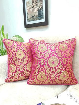 Fuschia Pink Handwoven Royal Banarasi Brocade Cushion Covers (Set of 2) (L - 16in ,W - 16in)
