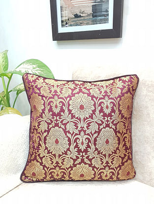 Wine Handwoven Royal Banarasi Brocade Cushion Covers ((Set of 2)) (L - 16in ,W - 16in)