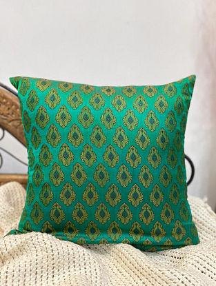 Green Handloom Silk Meenakari Cushion Cover (L - 16in ,W - 16in)