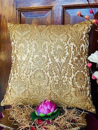 Gold Banarasi Damask Brocade Cushion Cover (L - 16in ,W - 16in)