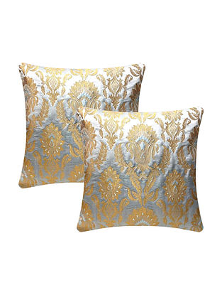 Grey Banarasi Floral Brocade Cushion Cover (L - 16in ,W - 16in)