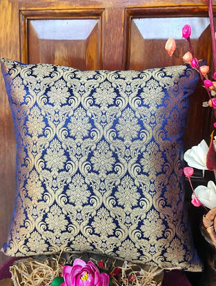 Blue Traditional Brocade Cushion Cover (L - 16in ,W - 16in)
