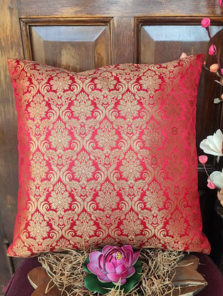 Red Gold Traditional Brocade Cushion Cover (L - 16in ,W - 16in)
