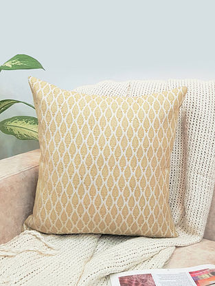 Natural Cream And Gold Booti Raw Silk Cushion Cover