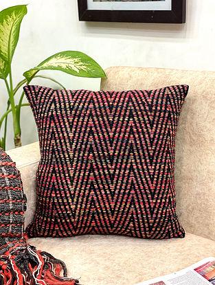 Natural Black Shaded Raw Silk Cushion Cover