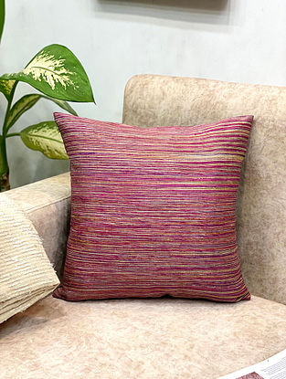 Pink Handwoven Silk Pin Stripes Cushion Cover