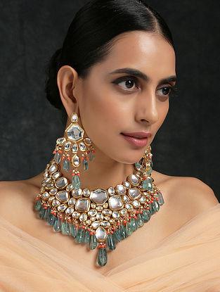 Blue Orange Kundan Necklace With Earrings
