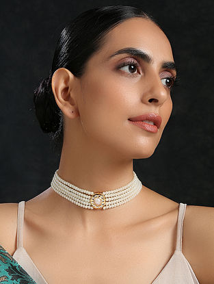 White Gold Tone Kundan Beaded Choker Necklace