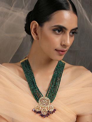 Green Purple Gold Tone Kundan Beaded Necklace