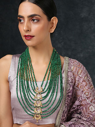 Green Gold Tone Layered Kundan Necklace