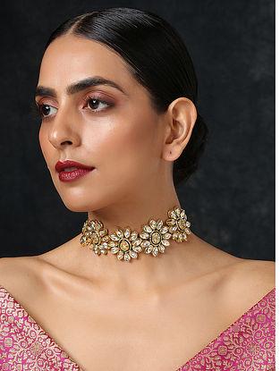 Gold Tone Kundan Choker Necklace
