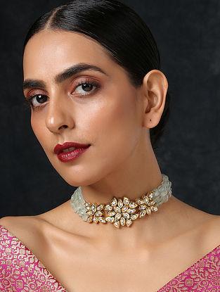 Blue Gold Tone Kundan Choker Necklace