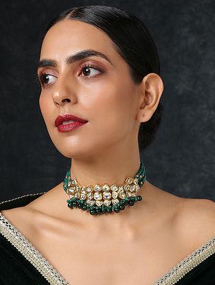 Green Gold Tone Kundan Choker Necklace
