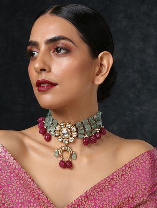 Green Red Gold Tone Kundan Beaded Choker Necklace