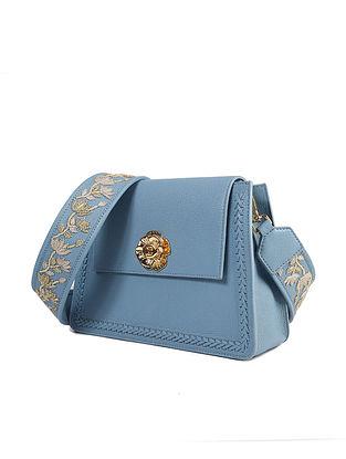 Powder Blue Handcrafted Genuine Leather Sling Bag