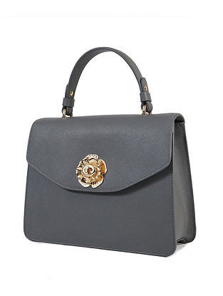 Grey Handcrafted Genuine Leather Hand Bag