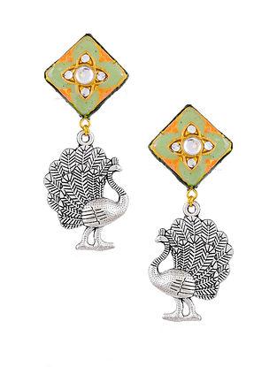 Green Silver Tone Enameled Kundan Earrings