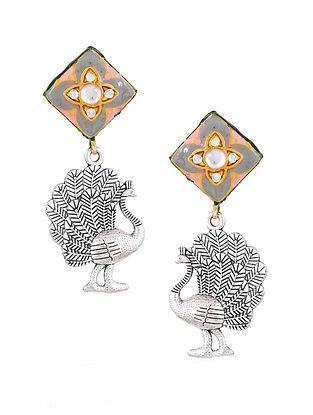 Grey Pink Silver Tone Enameled Kundan Earrings