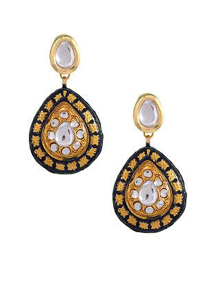 Blue Gold Tone Enameled Kundan Earrings