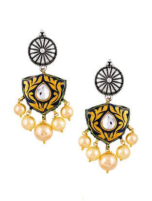 Blue Silver Tone Enameled Kundan Earrings With Pearls