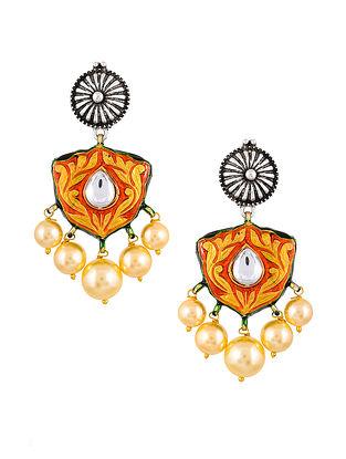 Red Silver Tone Enameled Kundan Earrings With Pearls