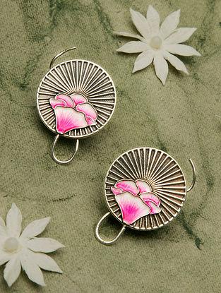 Pink Enameled Tribal Silver Earrings