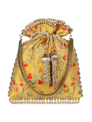 Yellow Hand Embroidered Silk Potli