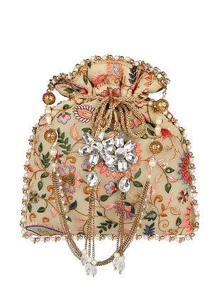 Multicolored Hand Embroidered Georgette Potli
