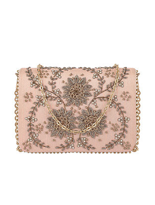 Peach Hand Embroidered Silk Clutch