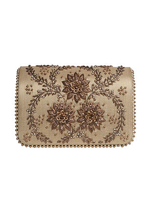 Gold Hand Embroidered Tissue Clutch