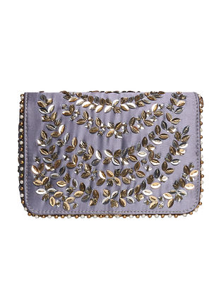 Grey Hand Embroidered Satin Clutch