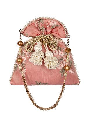 Pink Hand Embroidered Organza Potli