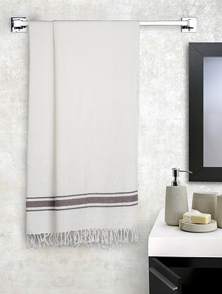 White Cotton Striped Bath Towels Set of 2 (L-56in, W-28in)