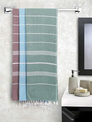 Multi Cotton Striped Bath Towels Set of 3 (L-60in, W-30in)