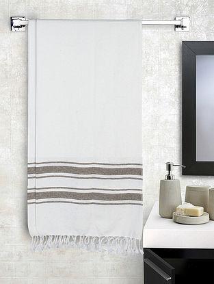 White Cotton Striped Bath Towels Set of 2 (L-60in, W-30in)